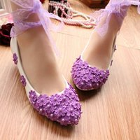 Wholesale colorful dress shoes for women resale online - Purple lace with colorful performance shoes photo wedding bride bridesmaid hand flat pregnant women shoes for women s shoes