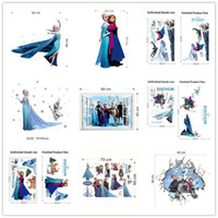 Wholesale Small Stickers Wholesale - Free DHL HOT Wallpaper Home Decoration 3D Anime Wall Sticks Frozen Wall Stickers Kids Room Decoration wallpaper LA87-2