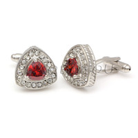 Wholesale Luxury Red Cufflinks - Luxury Men's Cuff Link Cubic Zirconia Crystal Cufflinks Yellow Blue Green Red Black Wholesale cf991189