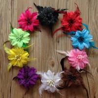 Wholesale Handmade Fabric Flower Hair Clips - Diy hair accessories baby girls feather flower hair clips handmade fabric flowers for headband with clips Children's hair accessories