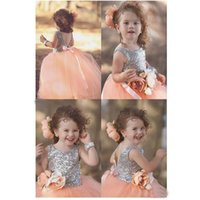 Wholesale Infant Dresses Flower Tops - New Arrival 2016 Infant Flower Girls' Dresses Sequins Bling Top Puff Tulle Skirt Princess Wedding Party Ball Gowns Crew Neck Backless Custom