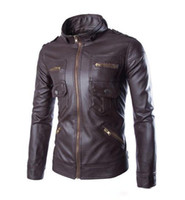 Wholesale Jacket Coat Leather Korea - 2017 new arrive Korea men's jacket Multi zipper motorcycle pu leather jacket stand collar men's coats coffee