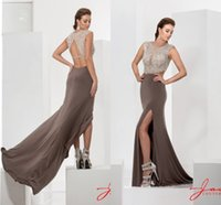 Wholesale Sexy Jasz Dresses - Vintage Sexy Evening Gowns Front Split Beaded Crew Sheath Mother Of The Bride Dresses Sleeveless Jasz Couture Plus Size Party Cocktail Gowns
