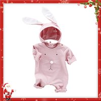 Wholesale Three Quarter Sleeve Jumpsuits - Newborn Baby Unisex Cap Hat+ Romper Bodysuit Jumpsuit Playsuit Outfit with Rabbit Ears Pink and Green Long Sleeve