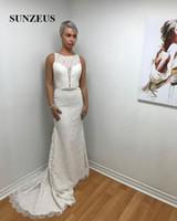 Wholesale Wedding Dress Pearl Waist Belt - Vintage Wedding Dresses Illusion Lace Scoop Tank Straight Wedding Gowns Beaded Belts Waist Bridal Dresses brautkleid