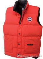Wholesale Dark Grey Hoodie Men - High Quality CANADA New Winter Men's Down puffer vest Casual Brand Hoodies Down Parkas Warm Ski Mens Coats Black Red