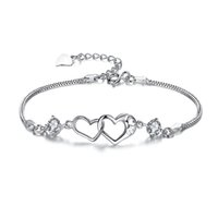 Wholesale track tracking number online - with tracking number Top Sale Silver Bracelet Double Heart crystal AAA CZ Bracelet Silver Jewelry