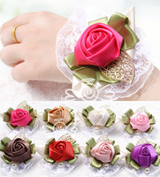 Wholesale Cheap Corsage Flowers - In Stock 2015 Cheap Wrist Corsage Wedding Decoration Bridal Flower Girls Bridesmaid Wrist Flowers Free Shipping
