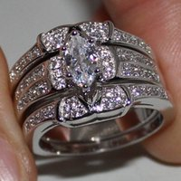 Wholesale Triple Ring Stones - Women's 925 Silver Marquise-cut Simulated Diamond CZ Stone Wedding Triple Ring Sets