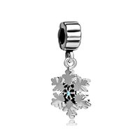 Holidays, Seasonal spacer manufacturers - China manufacturer Christmas snowflake Dangle Spacer metal slide bead European charm fit Pandora Chamilia Biagi charm bracelet