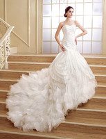 2016 Best Sale Fashion Custom Made Tromba / Sirena White Court Train increspato Lace Up Sweetheart Organza Abiti da sposa 210