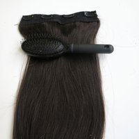 Wholesale Remy Hair Extensions Set - 80g 1pcs set 20 22inch Remy Human Hair Clip in Hair Extensions #1B Off Black Straight hair free comb