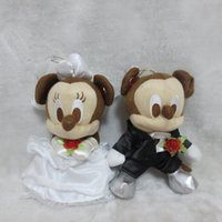 Wholesale Doll Mikey - Wholesale-2pcs lot mikey mouse plush toy Wedding dress mickey Minnie doll lovers 24cm