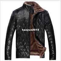 Wholesale Leather Jacket Chinese - 2014 New Winter Men'S Casual Leather Jacket Fur Large Size Chinese Brands Warm Coat Jacket Padded Free Shipping 4XL-5XL