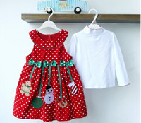 Wholesale Corduroy Shirt Dresses - Baby Girls Christmas Jumper Corduroy Dresses White Shirt And Red Dress Holiday Outfit Set Kids Costume