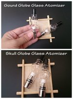 Wholesale m6 bulb atomizer resale online - Skull and Gourd glass globe atomizer double deck pyrex tank wax dry herb vaporizer vapor m6 bulb dome glassomizer coils vape pen DHL