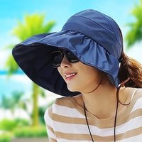 Wholesale Roll Up Visor Hat - Summer Fashion Women Wide Brim Roll Up Empty Top Sun Beach Hat Anti-UV Visors Cap Foldable Mix Colors
