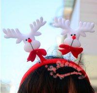 Wholesale Cute Wholesale Snowmen Decor - Christmas Hair Bands Santa Snowman Reindeer bear head bands christmas party accessories cute fun good quality Xmas decor