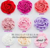 "Wholesale Rolled Satin Flower - 15% off on sale (240pcs)3"" 8 Colors Artificial Matte Satin Silk Flowers For Baby Headband Newborn Rolled Rosette Flower For Decoration"
