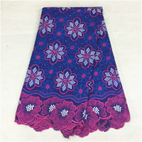 Wholesale African Purple Swiss Lace - Hot sale purple embroidery african cotton lace fabric with flower Swiss voile lace cloth for party dress BC2-1,5yards pc