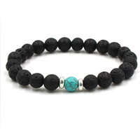 Wholesale Acrylic Stone Bracelets - 10 colors Natural Black Lava Stone Beads Elastic Bracelet Essential Oil Diffuser Bracelet Volcanic Rock Beaded Hand Strings