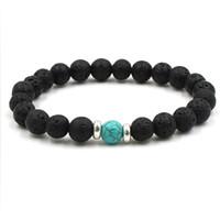 bracelet vie d'arbre achat en gros de-19 styles naturel pierre de lave noire chakra perles bracelet élastique bracelet huile essentielle diffuseur bracelet pierre volcanique perlé
