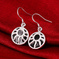 Wholesale Pure Silver Buttons - Vintage Buttons Dangel Black Paint New Summer Style 925 pure silver Drop earrings e6098 Fashion Jewelry