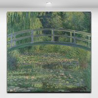 impresiones de obras de arte famosas al por mayor-Estanque de lirio de agua por Claude Monet Famosa pintura Paisaje Imagen Impresión de lienzo Obras de arte para la decoración de la pared del café de la oficina del hogar