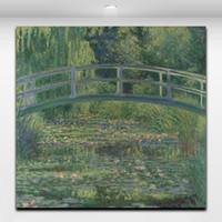Wholesale Lily Canvas Paintings - Water Lily Pond by Claude Monet Famous Painting Landscape Picture Canvas Printing Artwork for Home Living Office Cafe Wall Decor