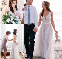 Wholesale T Back Chiffon Bridal Dress - C.V Elegant A line Appliques Beach Wedding Dresses Hollow Back Deep V neck Sexy Bohemian Custom Made Lace Bridal Gowns W0243