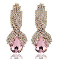 pendientes de platino plateados al por mayor-De diamantes de imitación de Cristal Pendientes de la Joyería de Gran platinado Cuelgan Gota de Agua Pendientes De las Mujeres de Zafiro pendientes de turquesa pendientes de 8 Colores