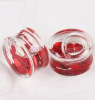 Wholesale Wholesale Body Piercing China - Piercing China UV Acrylic Ear Plug Tunnel red Liquid Ear Stretcher Expander Gauge Body 60pcs 8-18mm Jewelry Free Shipping