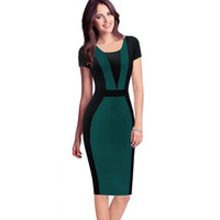 Wholesale pleated mini online - Womens Elegant Sexy O neck Short Sleeve Pinup Patchwork Bandage Bodycon Office Dress Cocktail Pencil Dress Wear to Work