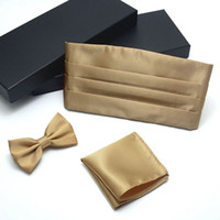 ingrosso colori di bowtie-Vestito da cerimonia da uomo in misto champagne con cravatta e cravatta a farfalla Set di cravatta da uomo in 7 colori con cravatta a farfalla