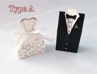 Wholesale Wedding Favor Boxes Tuxedo Dress - 100Pcs Wedding Favor Candy Holder Box Bride & Groom Dress hard paper board & ribbon Tuxedo Three option Party w  Ribbon Gift