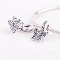 pingente de borboleta pandora venda por atacado-925 ALE prata pulseiras de pandora esferas jóias borboleta Dangle Pendant de cristal encanto talão, Bracelet Fit charme europeu para as mulheres