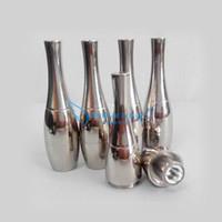 ingrosso vasi inossidabili-Più economico Vaso Cannon Bowling Atomizzatore Dry Herb Vaporizzatore Cera Dual Coil Ricostruibile in acciaio inox Black Metal Vapor Cigs (50pcs + da DHL)