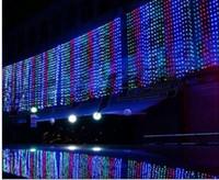 Wholesale Wedding Curtains Uk - 2015 500 Led Curtain Light 10m*1.5m 110- 220v Christmas Xmas Outdoor String Fairy Lights Wedding Party Decoration Lamps Au Eu Us Uk Plug