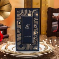 Wholesale Text Design Free - 2016 Wedding Day Invitations Laser Cut Gorgeous Black Invitation Cards Customized Text Party Event Free Envelope Unique Design