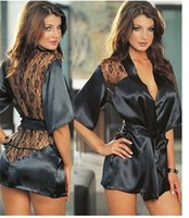 Wholesale Sexy Night Underwear - Hot Sexy Lingerie Plus Size Satin Lace Black Kimono Intimate Sleepwear Robe Sexy Night Gown Women Sexy Erotic Underwear