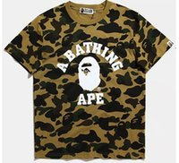 Wholesale T Hoodies - shark T Shirt fashion street head stitching camouflage printing cotton men and women Hoodies skateboard short sleeve aape T-shirt