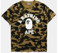 Wholesale Caps Skateboards - shark T Shirt fashion street head stitching camouflage printing cotton men and women Hoodies skateboard short sleeve aape T-shirt