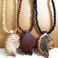 Wholesale Wood Jewelry Nyc - Indian Chief Good Wood NYC Hip Hop Jewelry Men Wooden Necklace Wholesale