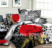 Wholesale Leopard Print Flower Comforter - Wholesale-wholesale 2015 3D bedding black red rose flower leopard skin printing bed sets cotton full queen size girls comforter cover 7pc