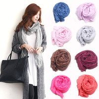 Wholesale Wholesale Big Cheap Rings - 170*90cm Women Sexy Fashion Pure Linen Fold Long Big Shawl Cheap Multicolor Punk Scarf Wraps 20Pcs Lot