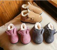 Wholesale Ear Loops Wholesale - Baby boots toddler kids cute rabbit bunny ear Ankle booties winter kids velvet thicken warmer shoes children cartoon snow boots R0955