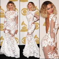 beyonce boyun toptan satış-Beyonce Grammy Ödülleri Tam Dantel Mermaid Gelinlik Jewel Boyun Uzun Illusion Kollu Backless Sweep Tren Örgün Abiye Parti Törenlerinde