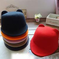 Wholesale Devil Bowler Hat - Wholesale-Fashion Winter Fashion Women Devil Hat Cute Kitty Cat Ears Wool Derby Bowler Cap Free Shipping