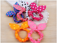 Wholesale rabbit ear hair tie - 50pcs Hair Rope Hair Band Girl kids Hair Accessories Rabbit Ears Hair Tie Polka Dot Elastic Ponytail Holder Hairwear Tie Gum