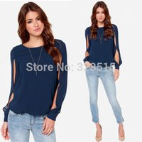 Wholesale Pink Blouses Plus Size - FG1511 2015 Plus Size Sexy Long Sleeve Chiffon Crewneck Blouse Women Casual Loose Shirt Tops